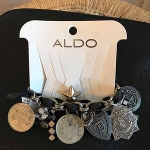 NWT Aldo Silver and Black Ribbon Charm Bracelet